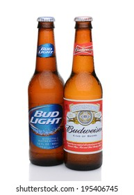 IRVINE, CA - MAY 27, 2014: A bottle of Budweiser and Bud Light with condensation. From Anheuser-Busch InBev, Budweiser and Bud Light are top selling domestic beers in the United States.