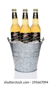 IRVINE, CA - MAY 27, 2014: Miller Genuine Draft bottles in a bucket of ice. MGD is actually made from the same recipe as Miller High Life except it is cold filtered.
