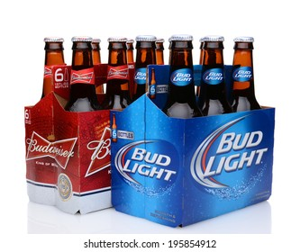 IRVINE, CA - MAY 27, 2014: A 6 pack of Bud Light and Budweiser beers. From Anheuser-Busch InBev, Bud Light is the number one selling domestic beer in the United States.