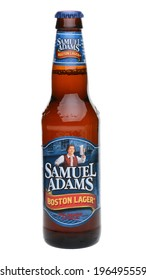 IRVINE, CA - MAY 27, 2014: A single bottle of Samuel Adams Boston Lager on white. Brewed by the Boston Beer Company one of the largest American-owned beermakers.