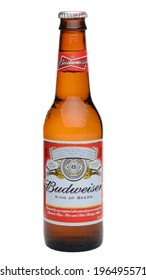 IRVINE, CA - MAY 27, 2014: A single bottle of Budweiser on white. From Anheuser-Busch InBev, Budweiser is one of the top selling domestic beers in the United States.