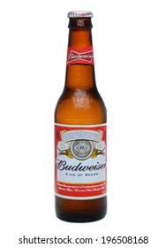 IRVINE, CA - MAY 27, 2014: A single bottle of Budweiser on white with condensation. From Anheuser-Busch InBev, Budweiser is one of the top selling domestic beers in the United States.