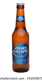 IRVINE, CA - MAY 27, 2014: A single bottle of Bud Light on white. From Anheuser-Busch InBev, Bud Light is the top selling domestic beer in the United States.