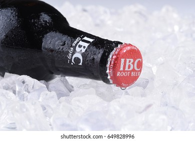 IRVINE, CA - MAY 29, 2017: IBC Root Beer on ice. IBC Root Beer was founded in 1919 by the Griesedieck family as the Independent Breweries Company in St. Louis, Missouri.