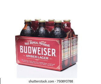 IRVINE, CA - NOVEMBER 7, 2017: Budweiser 1933 Repeal Reserve Amber Lager. Budweiser is releasing this historically inspired recipe to celebrate the Repeal of Prohibition.