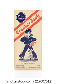 IRVINE, CA - SEPTEMBER 22, 2014: A old fashioned box of Cracker Jack. The brand registered in 1896, is a snack consisting of molasses flavored, candy coated, popcorn and peanuts.