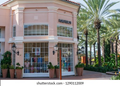 Irvine, CA USA - January 20, 2019: Irvine Spectrum Center is an outdoor shopping center with stores, restaurants, and entertainment attractions. Entrance to Forever 21 clothing store.