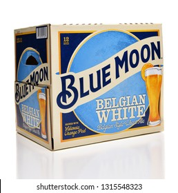 IRVINE, CALFORNIA - FEBRUARY 17, 2019: Blue Moon Belgian White Ale 12 pack bottles from Tenth and Blake Beer Company, the craft / import division of Chicago-based MillerCoors.