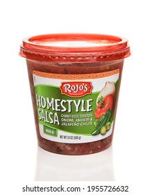 IRVINE, CALFORNIA - FEBRUARY 17, 2019: A 24 ounce container of Rojos Homestyle Mild Salsa. All Rojo's salsas are gluten free.