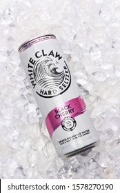 IRVINE, CALIFORNIA - 03 DEC 2019: A can of White Claw Hard Seltzer Black Cherry flavor on ice.