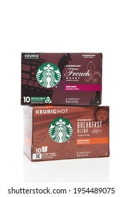 IRVINE, CALIFORNIA - 03 DEC 2019: Two boxes of Keurig K-Cup Coffee pods, with Starbucks flavors French Roast and Breakfast Blend.