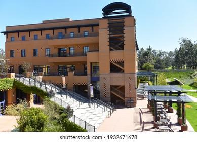 IRVINE, CALIFORNIA - 16 APRIL 2020: Visitor Center on the Campus of the University of California Irvine, UCI.