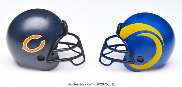 IRVINE, CALIFORNIA - 24 JUNE 2021: Football helmets of the Chicago Bears and Los Angeles Rams, Week 1 opponents in the NFL 2021 Season