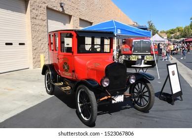 IRVINE, CALIFORNIA - 5 OCT 2019: A 1924 Ford Model T Fire Chiefs Executive Car on display at the Orange County Fire Authority annual open house.