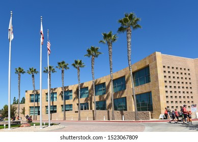 IRVINE, CALIFORNIA - 5 OCT 2019: Building at the Orange County Fire Authority Headquarters (OCFA) during their annual open house.