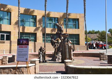 IRVINE, CALIFORNIA - 5 OCT 2019: The Tribute, a Memorial Statue at the Orange County Fire Authority Headquarters