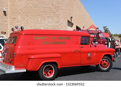 IRVINE, CALIFORNIA - 5 OCT 2019: Antique Fire Rescue Vehicle at the Orange County Fire Authority annual open house.