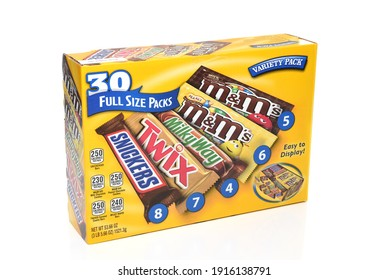 IRVINE, CALIFORNIA - 6 OCT 2020: A 30 count variety pack box of candy bars from Mars Wrigley.
