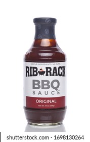 IRVINE, CALIFORNIA - 8 APRIL 2020: A bottle of Rib Rack BBQ Sauce, Original Flavor.
