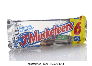 IRVINE, CALIFORNIA - 9 OCT 2019: A package of 6 Fun Size 3 Musketeers Candy Bars.