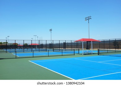 IRVINE, CALIFORNIA - APRIL 25, 2019: Tennis Courts at the Great Park Tennis Center. The Complex has 24 lighted courts open to the public.