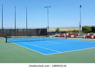 IRVINE, CALIFORNIA - APRIL 25, 2019: Championship Court at the Great Park Tennis Center. The complex has 24 lighted courts open to the public.
