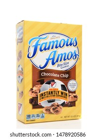 IRVINE, CALIFORNIA - AUGUST 14, 2019: A box of Famous Amos bite size chocolate chip cookies.