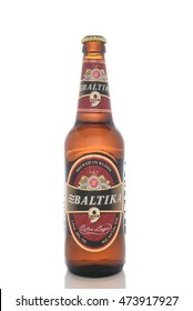 IRVINE, CALIFORNIA - AUGUST 25, 2016: A bottle of Baltika Lager. Baltika is the second largest brewing company in Russia.