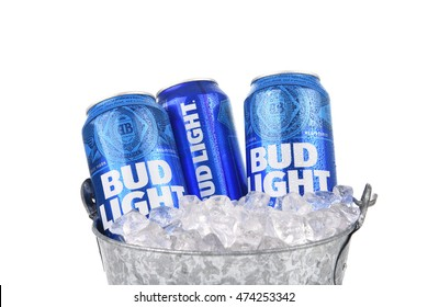 IRVINE, CALIFORNIA - AUGUST 25, 2016: Bud Light Cans in ice bucket. Bud Light is one of the top selling domestic beers in the United States.