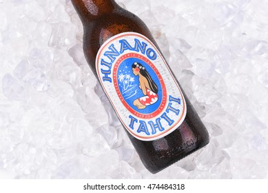 IRVINE, CALIFORNIA - AUGUST 26, 2016: Hinano Beer on ice. Brewed on the French Polynesian Island of Tahiti, the name comes from the white flower of the Pandanus plant.
