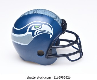 IRVINE, CALIFORNIA - AUGUST 30, 2018: Mini Collectable Football Helmet for the Seattle Seahawks of the National Football Conference West.