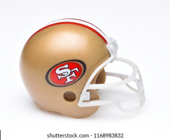 IRVINE, CALIFORNIA - AUGUST 30, 2018: Mini Collectable Football Helmet for the San Francisco 49ers of the National Football Conference West.