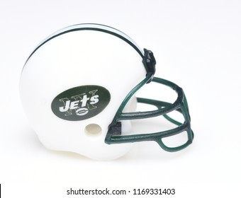 IRVINE, CALIFORNIA - AUGUST 30, 2018: Mini Collectable Football Helmet for the New York Jets of the American Football Conference East.
