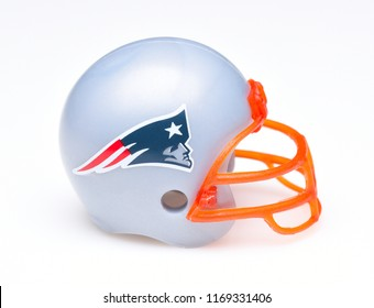 IRVINE, CALIFORNIA - AUGUST 30, 2018: Mini Collectable Football Helmet for the New England Patriots of the American Football Conference East.