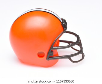 IRVINE, CALIFORNIA - AUGUST 30, 2018: Mini Collectable Football Helmet for the Cleveland Browns of the American Football Conference North.
