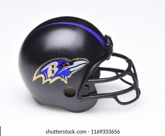 IRVINE, CALIFORNIA - AUGUST 30, 2018: Mini Collectable Football Helmet for the Baltimore Ravens of the American Football Conference North.