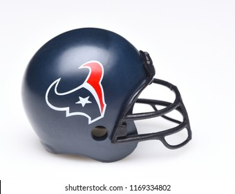 IRVINE, CALIFORNIA - AUGUST 30, 2018: Mini Collectable Football Helmet for the Houston Texans of the American Football Conference South.