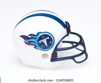 IRVINE, CALIFORNIA - AUGUST 30, 2018: Mini Collectable Football Helmet for the Tennessee Titans of the American Football Conference South.