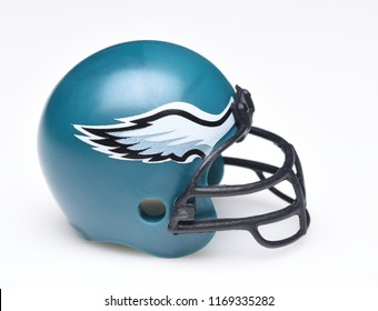 IRVINE, CALIFORNIA - AUGUST 30, 2018: Mini Collectable Football Helmet for the Philadelphia Eagles of the National Football Conference East.