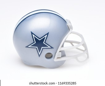 IRVINE, CALIFORNIA - AUGUST 30, 2018: Mini Collectable Football Helmet for the Dallas Cowboys of the National Football Conference East.