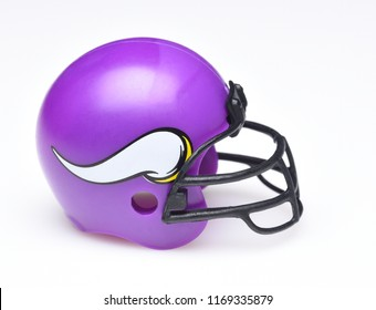IRVINE, CALIFORNIA - AUGUST 30, 2018: Mini Collectable Football Helmet for the Minnesota Vikings of the National Football Conference North.