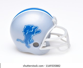 IRVINE, CALIFORNIA - AUGUST 30, 2018: Mini Collectable Football Helmet for the Detroit Lions of the National Football Conference North.