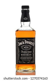 IRVINE, CALIFORNIA - DEC 28, 2018: A bottle of Jack Daniels Tennessee Whiskey, from Lynchburg, Tennessee, is the top selling American Whiskey in the world.