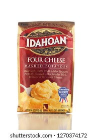 IRVINE, CALIFORNIA - DEC 28, 2018: A package of Idahoan Mashed Potatoes. The Dehydrated Process was developed in Lewisville, Idaho.