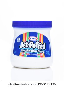 IRVINE, CALIFORNIA - DEC 4, 2018: Kraft Jet Puffed Marshmallow Creme. A confectionery spread, similar in flavor to solid marshmallow.