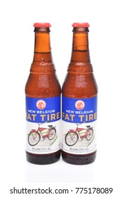 IRVINE, CALIFORNIA - December 14, 2017: Fat Tire Amber Ale. Two bottles of Fat Tire Amber Ale from the New Belgium Brewing Company, of Fort Collins, Colorado.