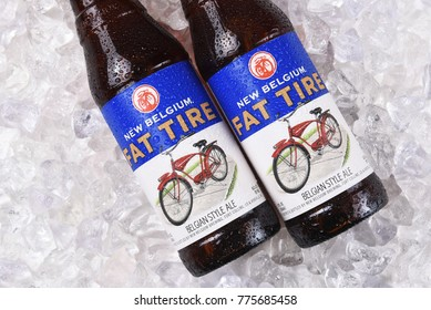 IRVINE, CALIFORNIA - December 14, 2017: Fat Tire Amber Ale bottles on ice. From the New Belgium Brewing Company, of Fort Collins, Colorado.