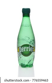 IRVINE, CALIFORNIA - DECEMBER 17, 2017: Perrier Sparkling Mineral Water. The spring, in Vergeze, France, where the water is sourced is naturally carbonated.