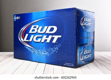 IRVINE, CALIFORNIA - December 4, 2014: Bud Light 36 Pack Cans. Bud Light is one of the top selling domestic beers in the United States.