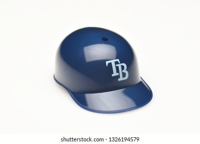 IRVINE, CALIFORNIA - FEBRUARY 28, 2019:  Closeup of a mini collectable batters helmet for the Tampa Bay Rays of Major League Baseball.
